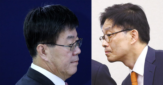 이영렬 서울중앙지검장(왼쪽)과 안태근 법무부 검찰국장 [중앙포토]