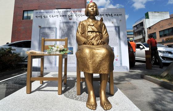 2015년 9월 충북 청주 상당구 중앙동 청소년광장에 건립된평화의 소녀상.프리랜서 김성태