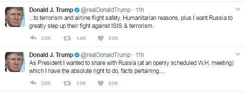 기밀유출 의혹을 반박하는 내용의 트럼프 대통령의 트위터. [트위터 캡처]