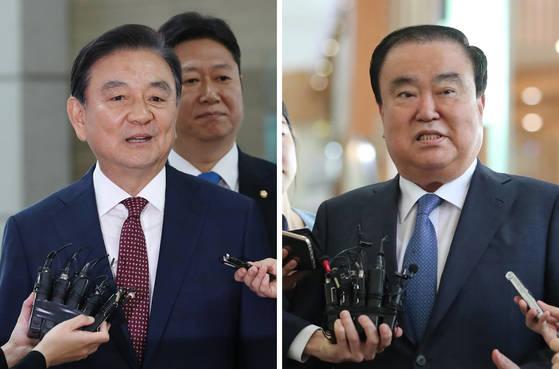 홍석현 미국 특사(왼쪽)와 문희상 일본 특사가 17일 각각 인천공항과 김포공항에서 출국에 앞서 기자들과 만나고 있다. 김현동·전민규 기자