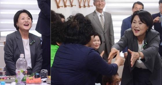 김정숙 여사가 문재인 대통령 취임 후 처음으로 경남 양산 매곡마을에 18일 방문해 주민들과 인사를 나누고 있다. [양산=연합뉴스]