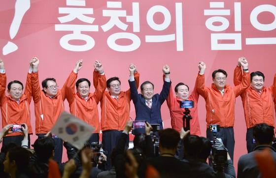 지난달 6일 충청지역에서 열린 홍준표 전 대선 후보 필승결의대회. 김성태 기자