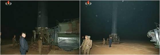 지난 14일 북한의 중거리탄도미사일(IRBM)인 화성-12형은 이동형 미사일 발사대(TEL)에서 똑바로 세운 뒤(왼쪽 사진) 차체와 분리하는 방식으로 발사했다. 왼쪽 사진은 간이 발사대에 탑재된 화성-12형. [사진 조선중앙TV]