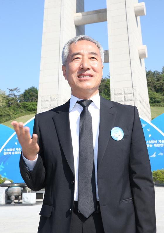 김종률 광주문화재단 사무처장이 18일 국립 5·18민주묘지에서 '임을 위한 행진곡' 제창에 대한 소회를 밝히고 있다. 프리랜서 장정필