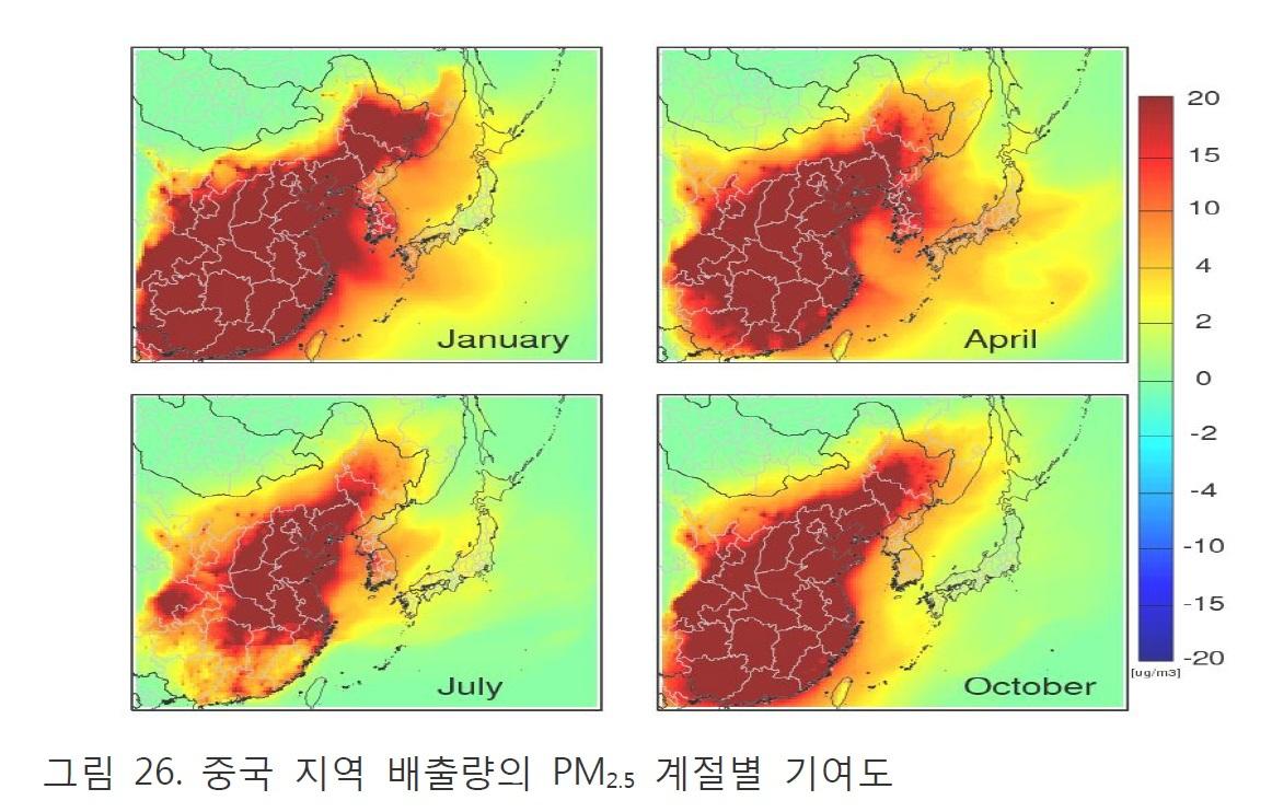 중국 오염물질이 서울 등 수도권에 미치는 영향을 계절별로 나타낸 지도. 왼쪽 위는 겨울, 오른쪽 위는 봄, 왼쪽 아래는 여름, 오른쪽 아래는 가을을 나타낸다. 봄철에는 중국 오염물질이 한반도를 강하게 뒤덮고 있어 가장 큰 영향을 미치고 있음을 보여준다. [그래픽 김순태 교수 보고서]