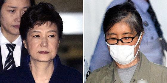 박근혜(左), 최순실(右)