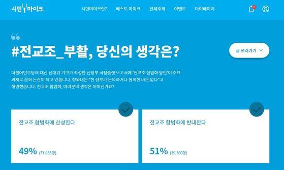 시민마이크는 22일 부터 전교조 재합법화와 관련해 시민들의 의견을 묻는 여론조사를 진행하고 있다. [시민마이크 홈페이지 캡처]