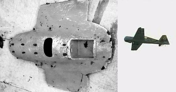 지난 2014년 9월 15일 백령도 서쪽 수중에서 발견된 북한 소형 무인기 잔해(왼쪽)과 같은해 원산 송도원국제야영소 개관식 당시 모형항공기 시범에 등장한 북한 무인기 [중앙포토ㆍ조선중앙TV 캡처]