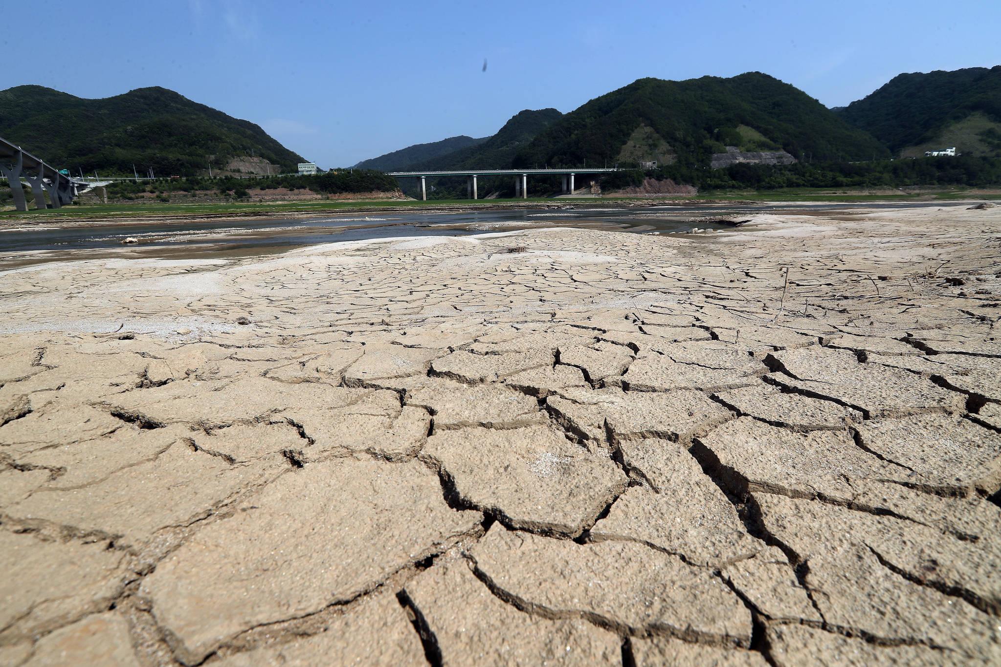 28일 소양강 상류인 강원도 인제군 38대교 인근이 가뭄으로 메말라 있다. 기상청은 강원지역 올해 1월부터 현재까지의 누적 강수량이 1973년 이래 최저치를 기록했다고 밝혔다. 우상조 기자