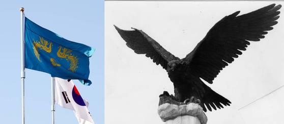 청와대 본관 앞의 봉황기와 태극기, 그리고 연세대를 상징하는 독수리상. [중앙포토]