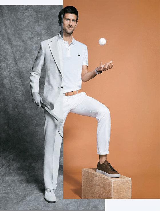 브랜드 창립자인 르네 라코스테와 노박 조코비치를 한 장에 담은 광고 캠페인. 84년 전 악어 자수의 경기복 재킷을 입은 라코스테와 피케 폴로셔츠를 입은 조코비치의 모습을 결합했다.