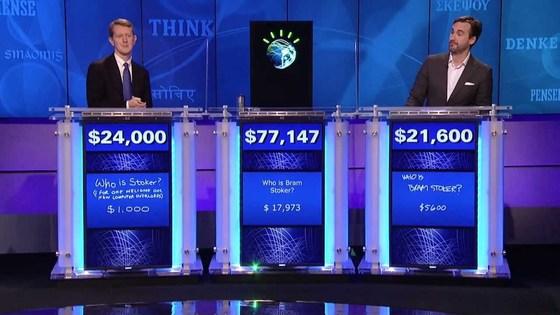 지난 2011년 IBM의 인공지능 '왓슨'(가운데)이 미국 퀴즈쇼 '제퍼디'에서 역대 인간 최고수들을 상대로 퀴즈를 풀고 있다. 왓슨은 이 시합에서 승리하며 세계적으로 이름을 알렸다. [유튜브 캡처]