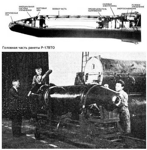 북한은 최근 탄도미사일의 탄두부분에 눈 역할을 하는 광학장치를 장착해 정확도를 높인 것으로 정보 당국은 판단하고 있다. 북한은 옛 소련이 만들어 수출한 스커드 미사일을 이집트에서 들여다 역설계를 통해 스커드 미사일일 개발했다. 옛 소련 과학자들이 광학장치를 장착하는 탄두 부분을 살펴보고 있다. 사진 오른쪽 구멍처럼 보이는 부분이 광학장치다. [ 사진=인터넷 '소련의 스커드 패밀리'(http://www.b14643.de/Spacerockets/Specials/Scud/index.htm#R-17)]
