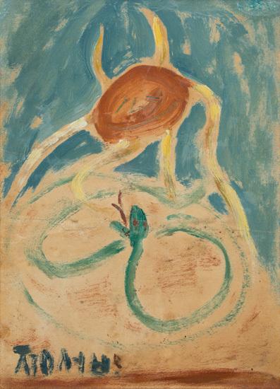신사실파 이중섭의 '해와 뱀'(1953년).[사진 부산시립미술관]