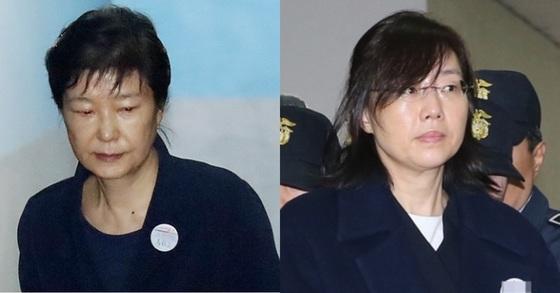박근혜 전 대통령(왼쪽)과 조윤선 전 문화체육관광부 장관. [사진 중앙포토]
