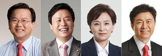 왼쪽부터 김부겸 후보자, 도종환 후보자, 김현미 후보자, 김영춘 후보자.