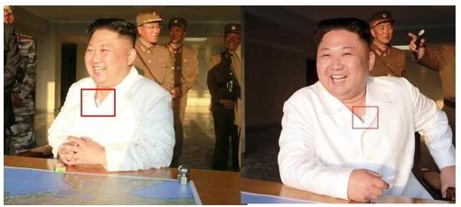 김정은 노동당 위원장의 양쪽 가슴에 가슴에 파스로 추정되는 흰색 부착물이 보인다. (왼쪽 사진 노동신문, 오른쪽 사진 조선중앙통신) [사진 연합뉴스]