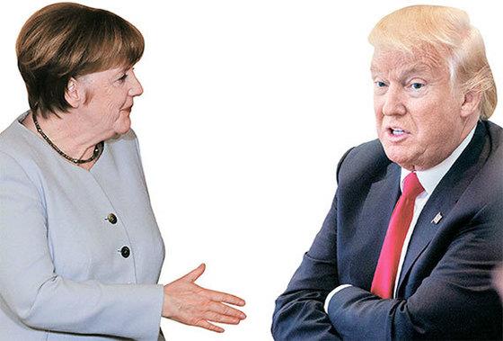 앙겔라 메르켈 독일 총리(左), 도널드 트럼프 미국 대통령(右) [중앙포토]