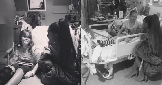 자선공연에 앞서 지난 공연 테러로 부상을 당한 어린이와 만난 아리아나 그란데. [사진 아리아나 그란데 인스타그램]