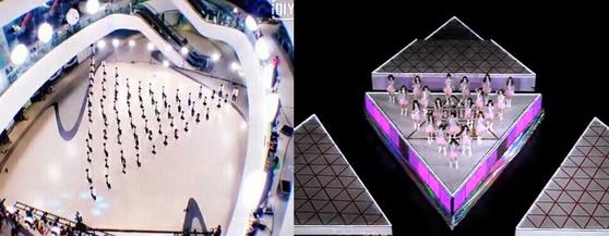 중국 오디션 프로그램 '스타의탄생'(왼쪽)과 국내 오디션 프로그램 '프로듀스 101'시즌 1(오른쪽) [사진 각 프로그램 영상 캡처]