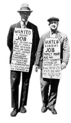 1929년 미국 대공황으로 실업자가 된 노동자들은 목에 피켓까지 걸고 일자리를 구해야 했다.[중앙포토]