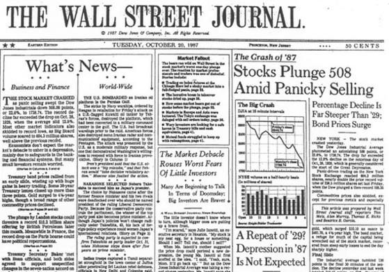 1987년 10월 20일자 월스트리트저널(WSJ) 1면. 다우지수가 22.6% 폭락한 '블랙먼데이'를 보도했다. [중앙포토]