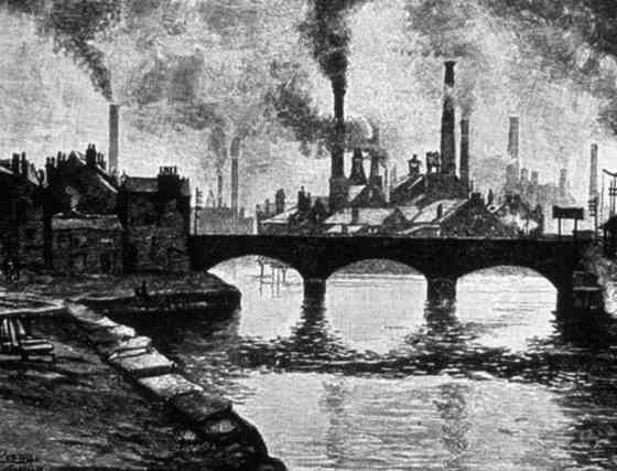 영국 산업혁명 당시 공장 굴뚝에서 연기가 나오는 모습을 그린 그림.[중앙포토]