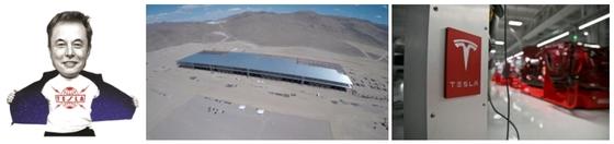 일론 머스크(46) 테슬라 이사회 의장 겸 CEO(왼쪽), 미국 테슬라 모터스가 네바다주 리노의 사막지대에 건설하고 있는 대규모 배터리 공장 '기가팩토리'(가운데), 미국 캘리포니아주 프레몬트 테슬라 공장 내부(오른쪽) [사진 중앙포토·테슬라]