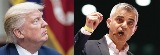 도널드 트럼프 대통령(왼쪽)은 무슬림이자 이민자 출신인 사디크 칸 런던시장(오른쪽)을 트위터로 조롱하고 비판하면서 논란을 일으켰다.
