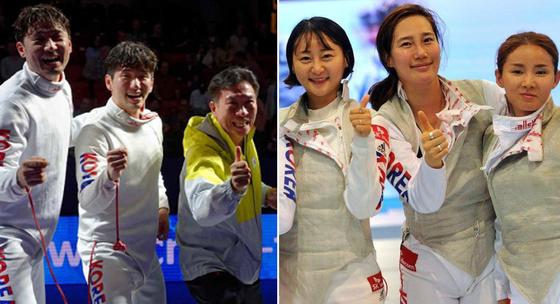 홍콩아시아선수권 대회 우승을 확정지은 한국 펜싱 선수들. [사진 국제펜싱연맹]