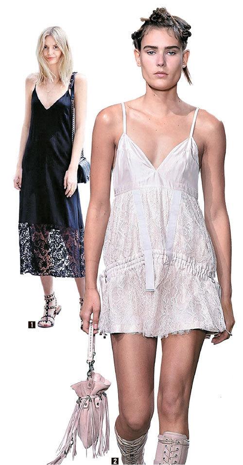 ① 단순한 실루엣의 블랙 드레스 하나로 멋을 냈다. ② 디젤 블랙 골드의 2017 봄·여름 컬렉션. [사진 디젤 블랙 골드·중앙포토·핀터레스트]