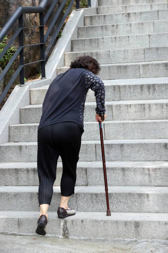 한 70대 여성이 지팡이에 의지해 계단을 오르고 있다. 운동·단백질 섭취로 근육량을 유지하면 골다공증 등 다른 질환도 예방할 수 있다. [최정동 기자]