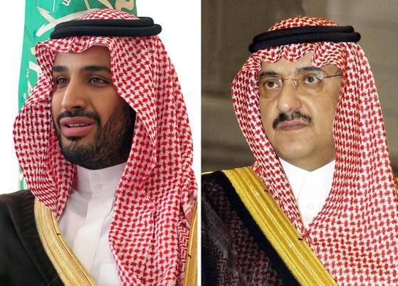 왕위 승계 서열 1위에 오른 무함마드 빈 살만(왼쪽) 왕세자와 2순위로 밀려난 무함마드 빈 나예프 왕자. [EPA/SPA=연합뉴스]