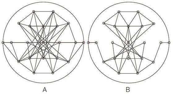[그림1] A가 일반인의 뇌, B가 알츠하이머 환자의 뇌 연결성을 나타낸 그림이다. 알츠하이머 환자의 경우 일반인보다 다른 영역과 연결한 선이 눈에 띄게 적다. [네덜란드 암스테르담 VU대 슈탐 C.J 교수 연구팀의 논문]