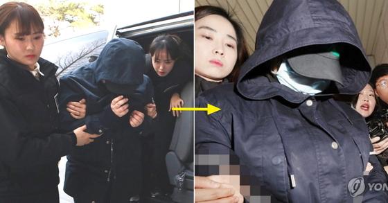 영장실질심사를 받기 위해 호송되는 사건의 공범과 주범. [인천=연합뉴스]