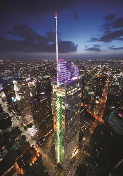 로스앤젤레스의 랜드마크가 된 월셔 그랜드 센터.미국 서부에서 가장 높은 빌딩이다. [사진 한진그룹]