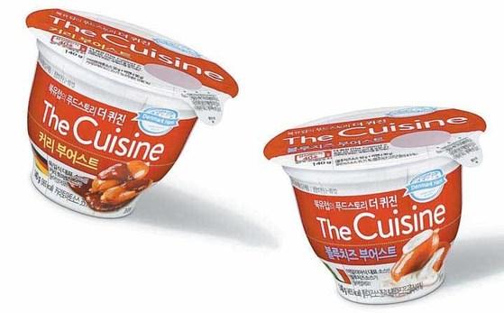 더퀴진은 식감을 살린 비엔나소시지에 각국을 대표하는 소스를 넣어 한 컵에 담은 제품이다.                                               [사진 동원F&B]