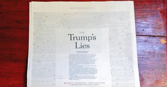 뉴욕타임스가 지면 전체를 트럼프 대통령의 '거짓말' 발언으로 디자인했다. [사진 스튜어트 톰슨 트위터]