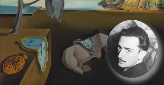 1930년대 살바도르 달리(원 안)와 그의 작품 '기억의 지속'
