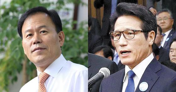 윤한홍 자유한국당 의원(왼쪽)과 정병국 전 바른정당 대표