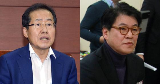 홍준표 전 경남지사와 장제원 자유한국당 의원 [사진 중앙포토]
