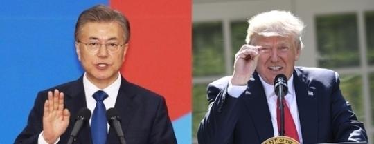 첫 정상회담을 앞둔 문재인 대통령(왼쪽)과 도널드 트럼프 미국 대통령 [중앙포토]