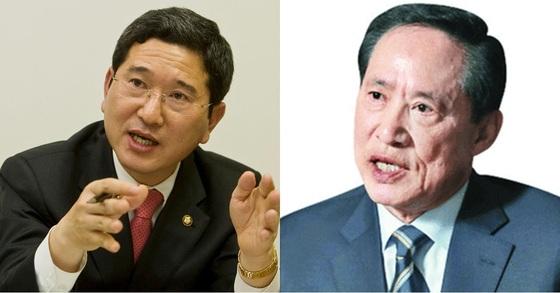 김학용 자유한국당 의원(왼쪽)과 송영무 국방부 장관 후보자.