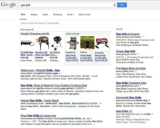 2014년 EU와 구글이 한 때 시도를 검토했던 새로운 검색 결과 표시 방안. 위 사진처럼 구글 쇼핑(왼쪽 3개)과 경쟁 가격 비교 사이트(오른쪽 3개)의 검색 결과를 나란치 배치하는 방안이었다. [사진 블룸버그]