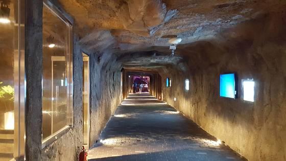 지하 300~400m에서 불어오는 찬바람의 영향으로한여름에도 영상 15도 이하를 유지하는 보령 성주산 냉풍욕장 내부 모습. 신진호 기자