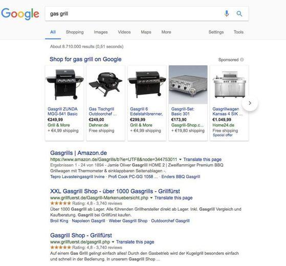 구글 독일 사이트에서 검색창에 '가스 그릴'이라고 치면 '구글 쇼핑' 서비스의 검색 결과가 1위~5위에 노출된다. 구글 쇼핑에 등록한 유통업체의 가스 그릴 5개의 사진ㆍ가격ㆍ업체 링크 정보가 눈에 띄게 배치된다. 다른 가격 비교 사이트는 보이지 않는다. [사진 블룸버그]