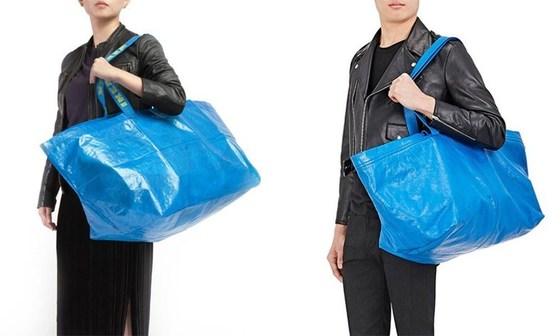국내에서 약 2000원 안팎의 가격에 판매중인 이케아의 블루백(왼쪽)과이탈리아 명품 브랜드 '발렌시아가'가 지난 4월 내놓은 245만원 상당의 블루 토트백. [사진 데이즈드 홈페이지]