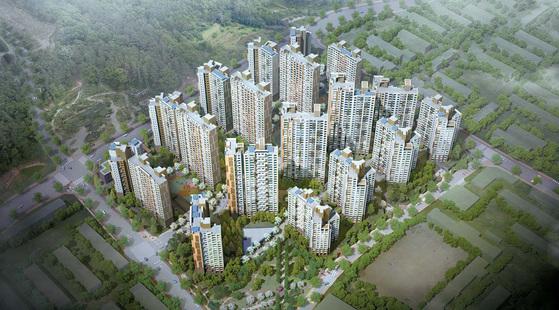 서울 속 미니신도시로 불리는 고덕지구 중심에 고덕 센트럴 아이파크가 6월 30일 견본주택을 개관한다. 사진은 고덕 센트럴 아이파크 조감도.
