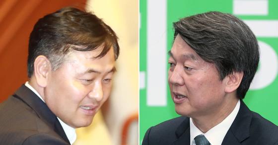 김관영 국민의당 진상조사단장(왼쪽)과 안철수 전 국민의당 대표. [연합뉴스, 중앙포토]