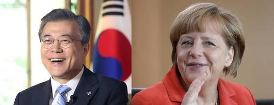 문재인 대통령과 앙겔라 메르켈 독일 총리 [중앙포토]